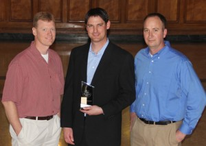 Greg Linneman, Tim Crockett, and Nathan Eckhoff- 2012 Chamber of Commerce Small Business of the Year